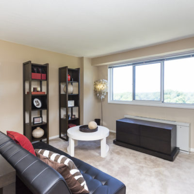 Living room with black futon at an apartment in Silver Spring MD