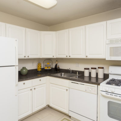 White appliances inside a kitchen at the Enclave