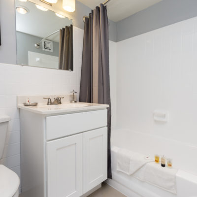 Updated bathroom at a Silver Spring high rise apartment in MD