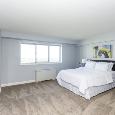 An inviting bedroom at the Enclave Apartments in MD
