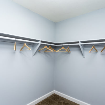 Spacious walk in closet with blue walls at the Enclave in Silver Spring