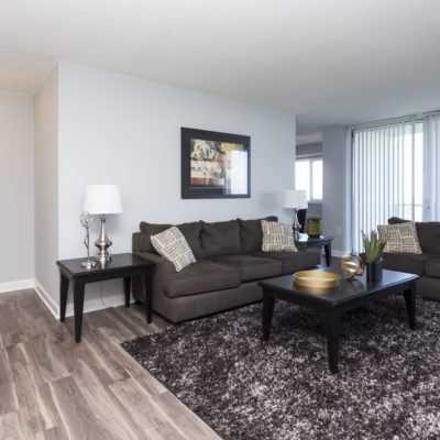 Living room with hardwood floors at the Enclave Apts in MD