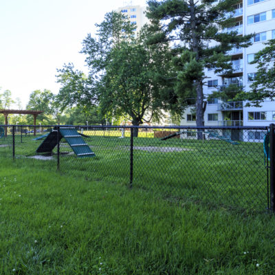 A lush grassy dog park outside of the Enclave Apartments in MD