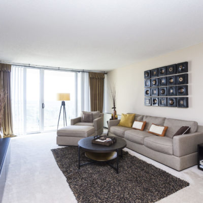 Fully furnished apartment living room in Silver Spring