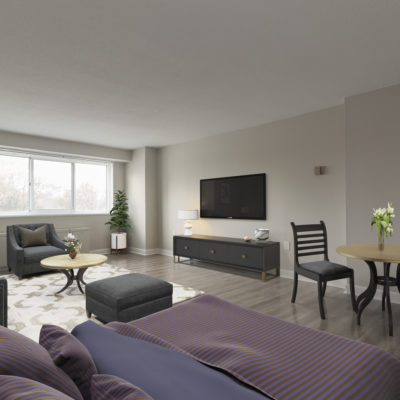 A large living room at the Enclave Apartments that is perfect for roommates